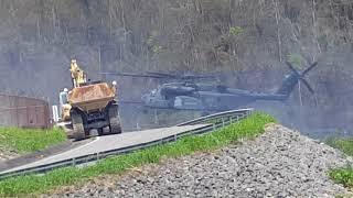 Militares en el proceso de mitigación de la represa Guajataca en San Sebastian Puerto Rico.