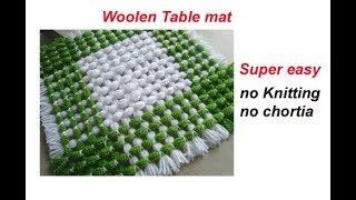बिना सिलाई बिना कोरसिआ से बनाय woolen flower Table mat/ floor mat/thaal posh/recycle wool