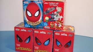 5x ULTIMATE SPIDER-MAN CHOCO TREASURE EGGS TOY SURPRISE OPENING