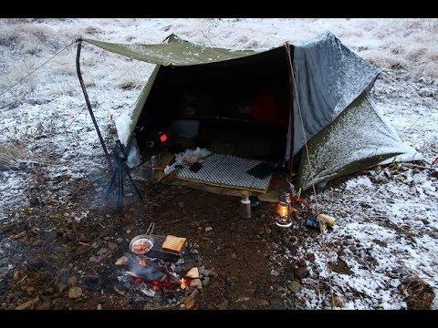 winter camping 河原で焚き火料理 米軍テントで� ロキャンプ