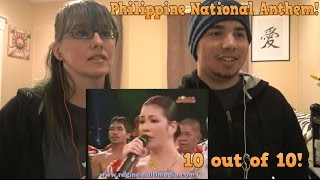 MOM & SON REACTION TO! Philippine National Anthem (Best Version) - Regine Velasquez