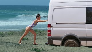 STUCK AT THE BEACH   Hello Mexico Ep. 29 // a van life series