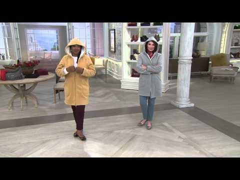 Denim & Co. Long Sleeve Fleece Jacket with Hood with Albany Irvin