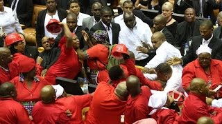 EFF BIG FIGHT Punching, pushing and shoving as chaos erupts in Parliament