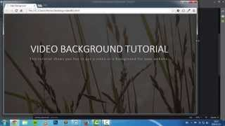 Video As A Background For Website | HTML, CSS