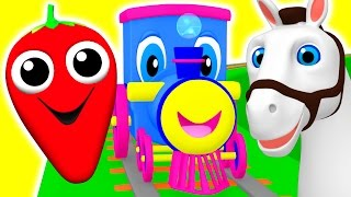 Learning Train | Preschool Educational Videos | Learn Colors, Fruits Animals ABC Songs BusyBeavers