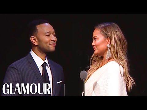 John Legend's Tearful Tribute to Chrissy Teigen   Glamour WOTY 2018