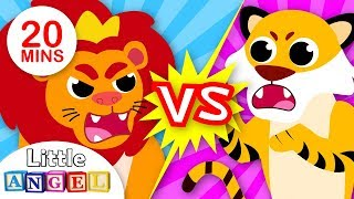Lions vs. Tigers | Baby Animal Songs for Children | Kids Songs and Nursery Rhymes by Little Angel