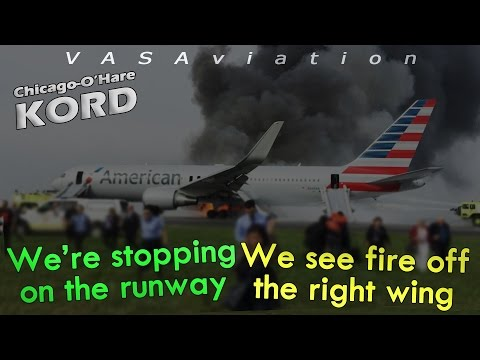 watch [REAL ATC] American B763 RTO + CAUGHT FIRE at Chicago O'Hare! | 3D