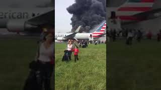 """AMERICAN AIRLINES CAUGHT FIRE AND LANDED IN OMAN""""August 2017"""""""