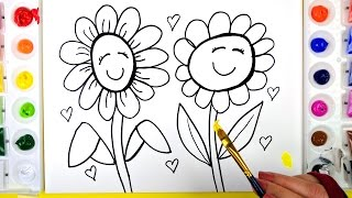 Coloring Two Flowers Painting Pages for Kids to Learn Drawing Coloring and Painting 💜