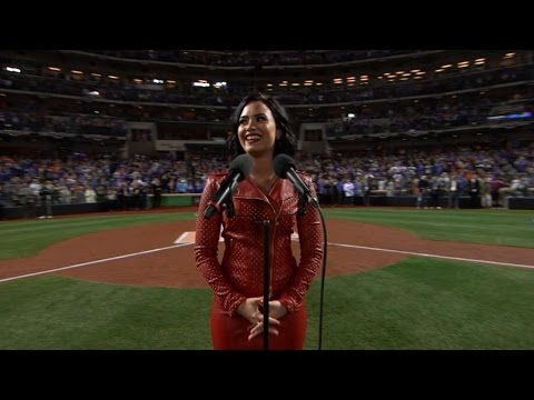 Demi Lovato sings the national anthem
