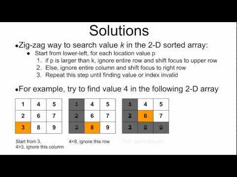 Programming Interview 20: Search value in a 2-D sorted array