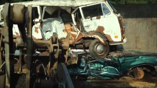 VW Bus Crushed Flat!