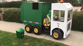 Garbage Truck Power Wheels: Custom Made Costume  | Fun videos for children