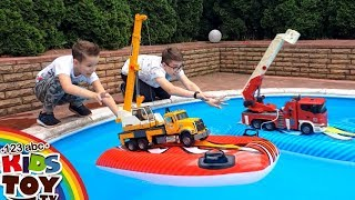 LARGE TOYS CARS IN THE POOL Police car Fire truck Concrete mixer Garbage truck BRUDER 123ABCKidsToy