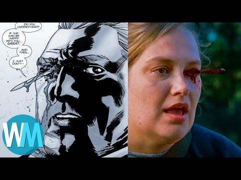 Top 10 THE WALKING DEAD Différences CHOQUANTES entre les COMICS et la série