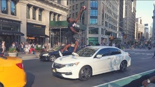 Jumping over cars in NYC