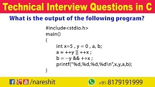Logical Operators | C Technical Interview Questions and Answers | Mr. Srinivas