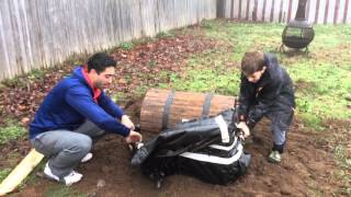 Father and son dig up treasure box in search of Christmas presents!