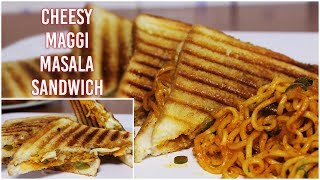 Cheesy Maggi Masala Grilled Sandwich Recipe | Kids Favourite Lunch Box Recipe | Kanak