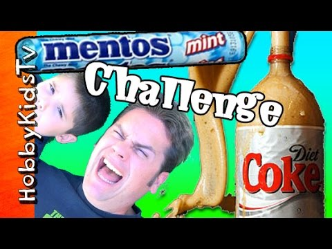 Mentos + Diet Coke Challenge! HobbyDad Candy Science Experiment by HobbyKidsTV