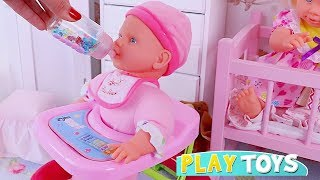 Play Baby Doll Feeding Toys in Pink Doll Bedroom! 🎀