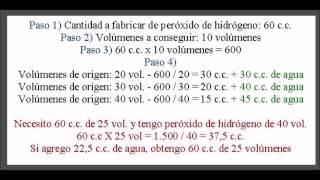 Cómo conseguir diferentes volúmenes de peróxido de hidrógeno