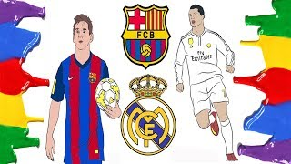 How to Draw and Color - Barcelona, Real Madrid Logo and Messi & Ronaldo Coloring Pages