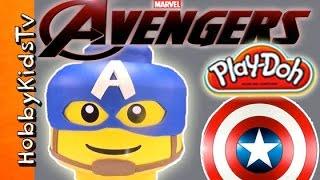GIANT Play-Doh Lego Head AVENGERS CAPTAIN Rogers Makeover! [Box Open] By HobbyKidsTV