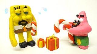 SpongeBob and Patrick Star Christmas Gift 🎁 Superhero Play Doh Stop Motion Animations