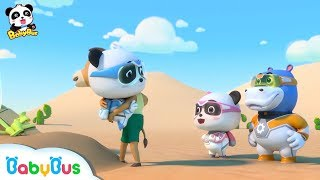 Baby Panda is Saved from Sand Storm | Super Panda Rescue Team | BabyBus Cartoon