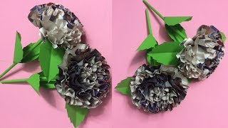 How to Make Beautiful Flower with Newspaper | Making Paper Flowers Step by Step | DIY-Paper Crafts