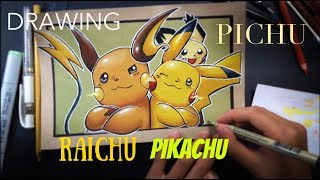 Pichu Photobomb | Colored Pencil Illustration