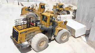 Komatsu WA800 And Cat 992 Wheel Loaders Working With Huge Marble Blocks