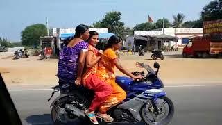 40 years old aunty triple riding on Yamaha R15