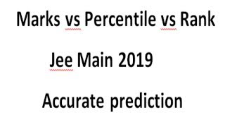 Marks vs Rank vs Percentile in jee mains 2019   jee mains expected cutoff !