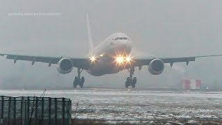 I-Fly Airbus A330 smooth landing, misty winter evening.