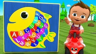 Little Baby Learning Alphabets with Fish Puzzle Toy Set for Children Kids Toddlers ABC Educational