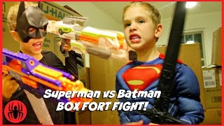 Superman vs Batman Box Fort Fight! kids nerf superhero real life movie SuperHeroKids
