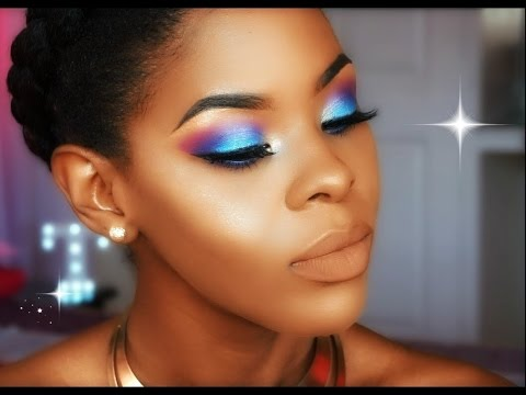 Teal + Purple eyes + Nude Lip Makeup Look *TUTORIAL* || Tara Williams