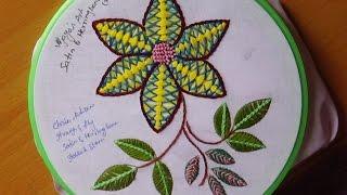 Hand Embroidery Designs # 157 - Satin & Herring bone Design