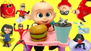 Full Set of The Incredibles 2 Happy Meal Toys with Baby Jack Jack
