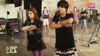 f(x) Amber teaching Anna Kendrick the choreography of Electric Shock