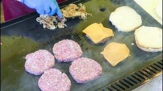 Cooking Hamburgers of Chianina Cow Beef. Italian Street Food