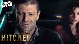 The Hitcher: John Ryder (Sean Bean) threatens Grace (Sophia Bush) and Jim (Zachary Knighton)