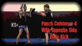 Muay Thai - Punch Combos 1-4 With Opposite Side Body Kick Drill