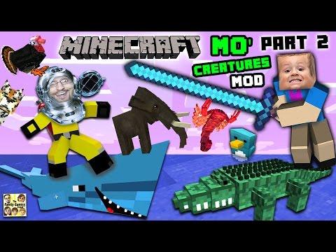 AQUARIUM ATTACK!! MO' CREATURES MOD Showcase #2: LAND CREATURES CRAZYNESS (FGTEEV Minecraft)