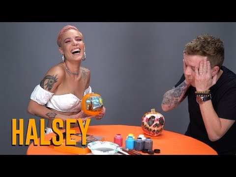 Halsey Destroys JoJo In Pumpkin Painting Contest NationalPumpkinDay