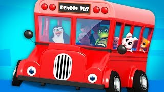 Red Wheels On The Bus | Nursery Rhymes | Junior Squad Cartoons